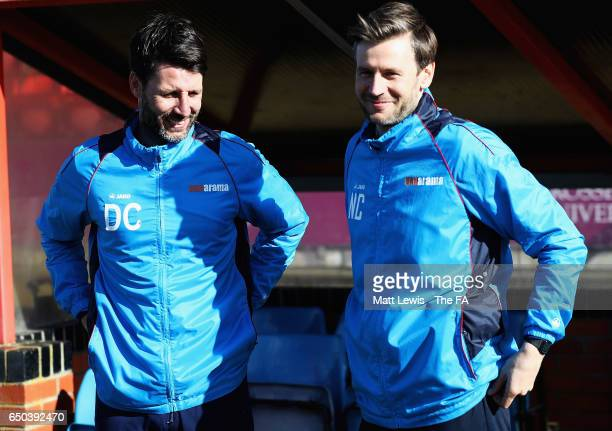 Danny Cowley manager of Lincoln City looks on with his brother Nicky Cowley during a Lincoln City Media Day ahead of their FA Cup match against...