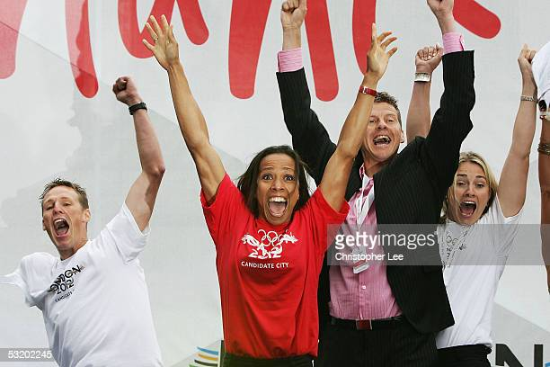 Danny Crates Dame Kelly Holmes Steve Cram and Sarah Webb jump for joy as they hear the good news that London win the Olympic 2012 bid during the...