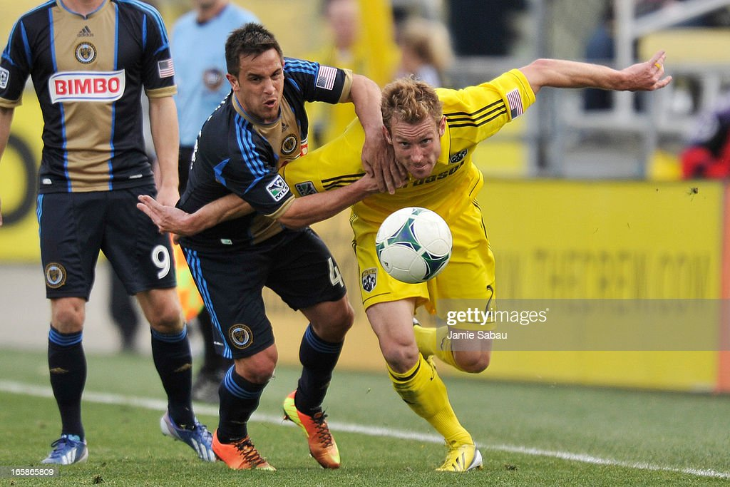 Danny Cruz #44 of the Philadelphia Union and Tyson Wahl #2 of the Columbus Crew chase down a loose ball in the second half on April 6, 2013 at Crew Stadium in Columbus, Ohio. Columbus and Philadelphia played to a 1-1 tie.