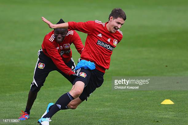 Danny da Costa catches Phillipp Wollscheid during the training session of Bayer Leverkusen at Ulrich Haberland Stadium on June 25 2012 in Leverkusen...