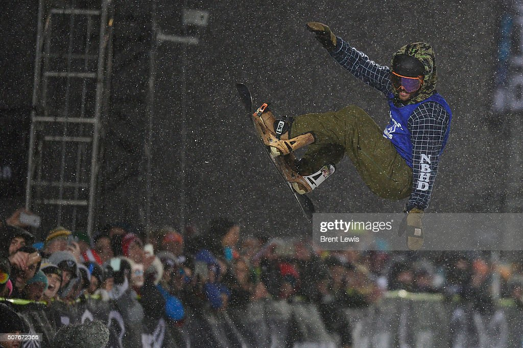 Danny Davis catches some air in his first run after bailing on the run during men's halfpipe finals at Winter X Games 2016 at Buttermilk Mountain on...
