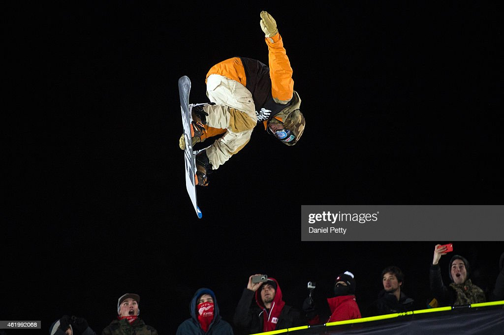 Danny Davis competes in the second run of the mens snowboard superpipe final at the Winter X Games 2015 Aspen at Buttermilk Mountain on January 22 in...