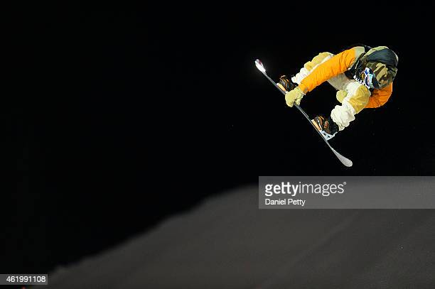 Danny Davis competes in the third and final run of the mens snowboard superpipe final at the Winter X Games 2015 Aspen at Buttermilk Mountain on...