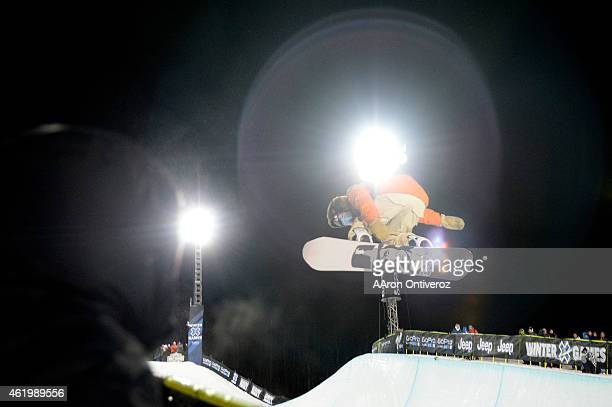 Danny Davis eventual gold medalist makes his first run during the men's snowboard halfpipe final Winter X Games 2015 at Buttermilk Mountain on...