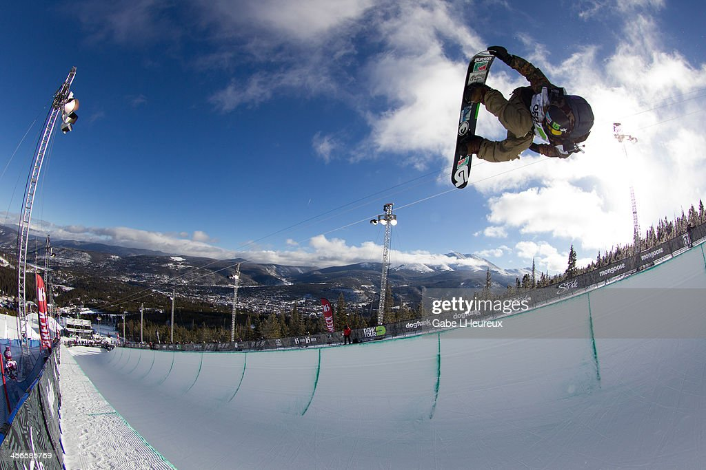 Danny Davis flying through the air in the 2013 Dew Tour half-pipe finals on December 14, 2013 in Breckenridge, Colorado.