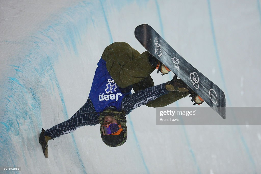 Danny Davis hand plants during his first run after bailing on the run during men's halfpipe finals at Winter X Games 2016 at Buttermilk Mountain on...