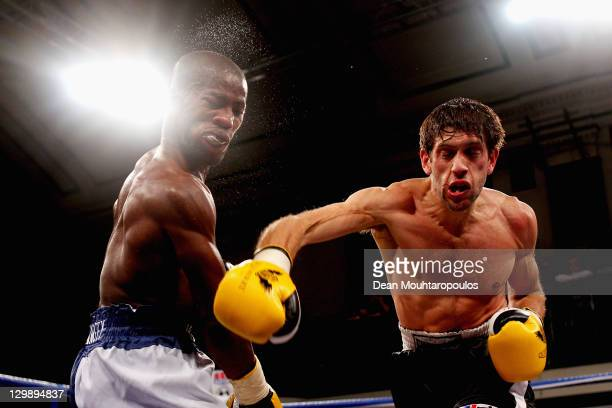 Danny Davis of Croydon knocks out Mark McKray of Tottenham during their LightWelterweight Contest held at York Hall on October 21 2011 in London...