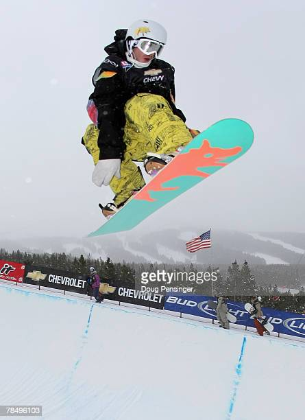 Danny Davis of the the US flies above the half pipe during qualifying for the Chevrolet US Snowboard Grand Prix in the Freeway Terrain Park December...