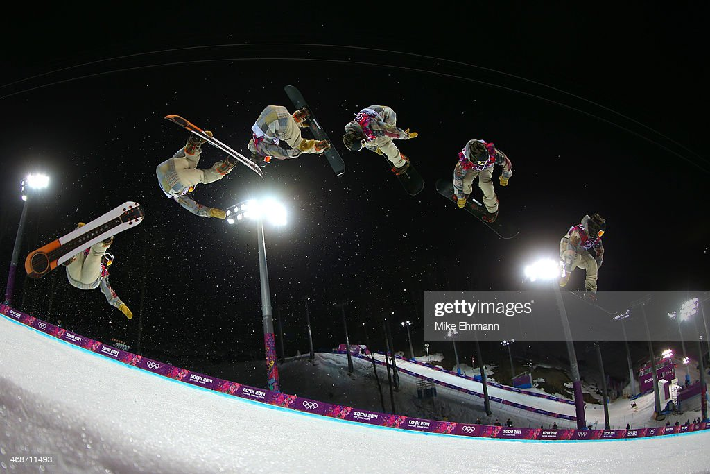 Danny Davis of the United States competes in the Snowboard Men's Halfpipe Finals on day four of the Sochi 2014 Winter Olympics at Rosa Khutor Extreme Park on February 11, 2014 in Sochi, Russia.