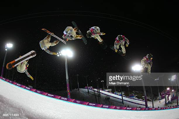 Danny Davis of the United States competes in the Snowboard Men's Halfpipe Finals on day four of the Sochi 2014 Winter Olympics at Rosa Khutor Extreme...
