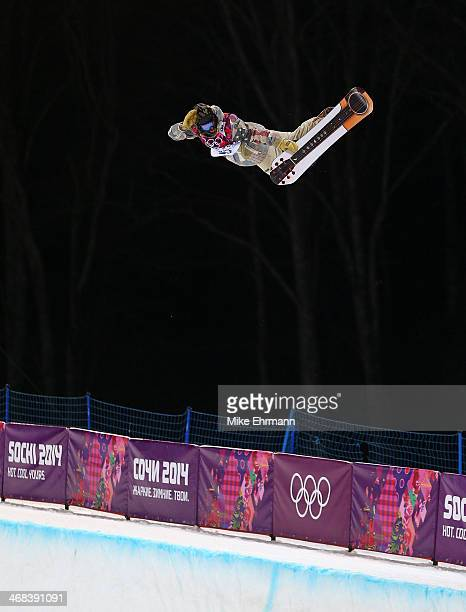 Danny Davis of the United States practices during training for the Halfpipe competition at the Extreme Park at Rosa Khutor Mountain on February 10...