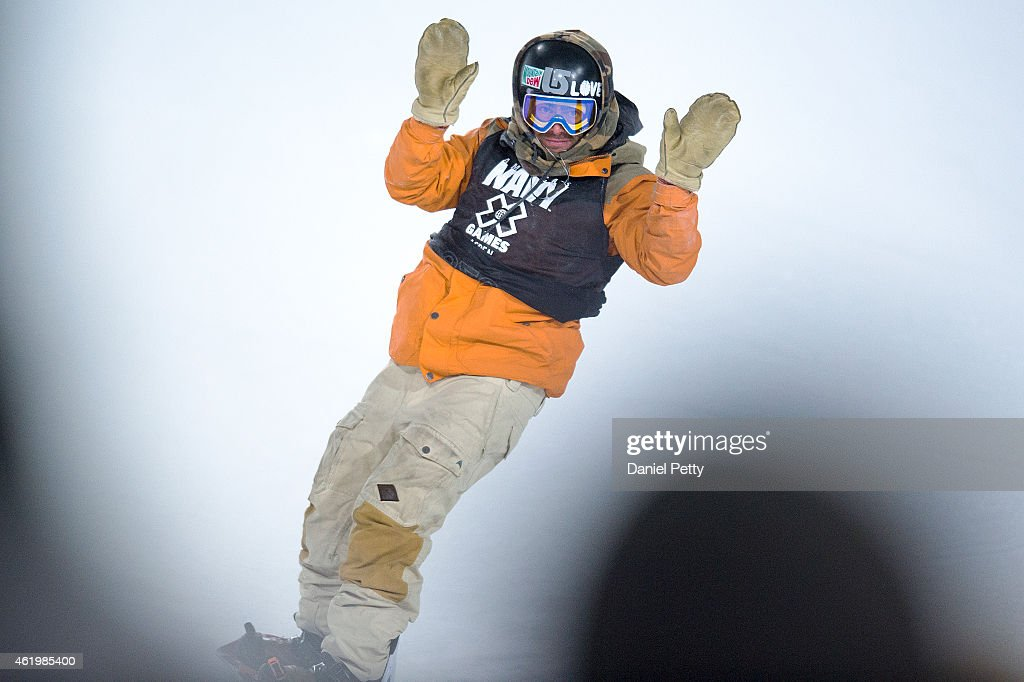 Danny Davis of the United States reacts after finishing the first elimination run of the men's snowboard superpipe during the Winter X Games 2015...