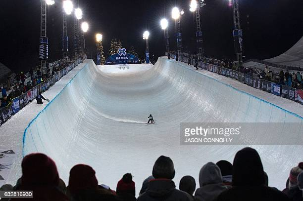 Danny Davis of the US approaches the lip of the superpipe during the men's SBD superPipe finals during X Games Aspen 2017 at Buttermilk Mountain in...