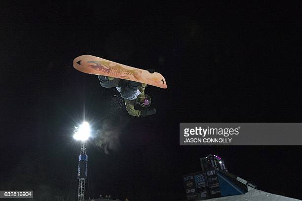 Danny Davis of the US skies high in the men's SBD superPipe finals during X Games Aspen 2017 at Buttermilk Mountain in Aspen Colorado on January 26...