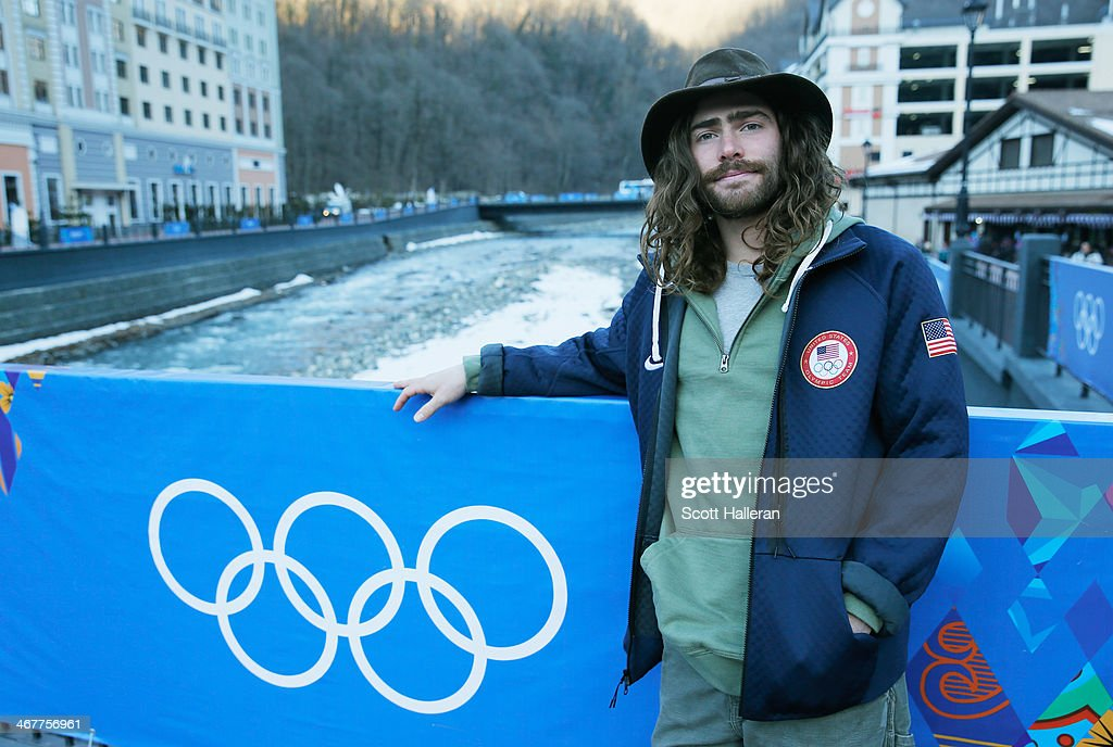 Danny Davis of the USA Snowboarding team poses in the Rosa Khutor Mountain Village ahead of the Sochi 2014 Winter Olympics on February 6 2014 in...