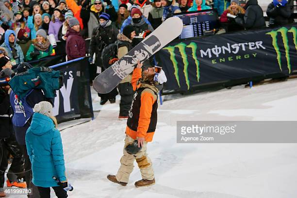 Danny Davis of USA takes 1st place during the Winter X Games Men's Snowboard Superpipe on January 22 2015 in Aspen Colarado