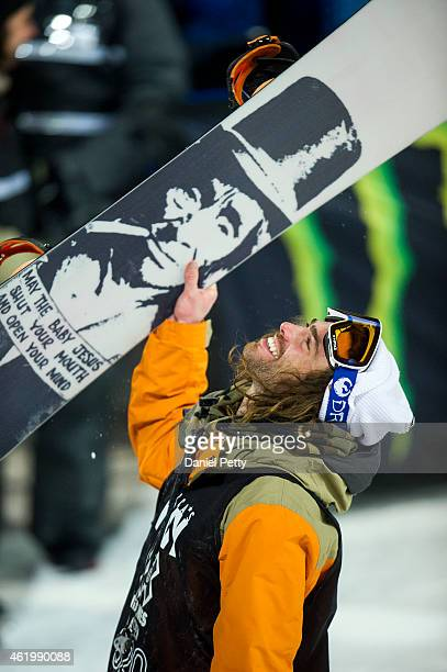 Danny Davis reacts after winning the gold medal in the men's snowboard superpipe at Winter X Games 2015 Aspen at Buttermilk Mountain on January 22 in...