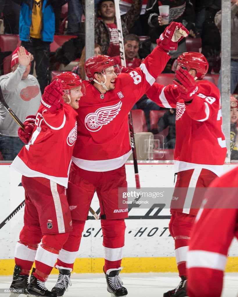 Danny DeKeyser #65 of the Detroit Red Wings celebrates his game winning goal with teammates Gustav Nyquist #14 and Anthony Mantha #39 during an NHL game against the New York Islanders at Joe Louis Arena on February 3, 2017 in Detroit, Michigan. The Wings defeated the Islanders 5-4.