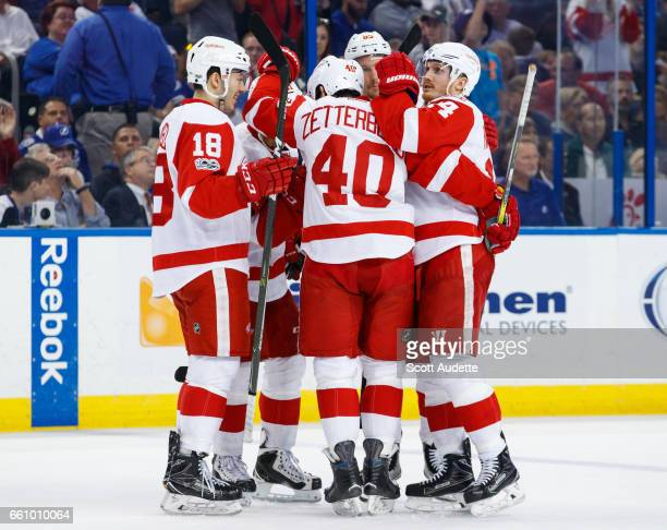Danny DeKeyser of the Detroit Red Wings celebrates his goal with teammates Robbie Russo Henrik Zetterberg and Gustav Nyquist during second period...