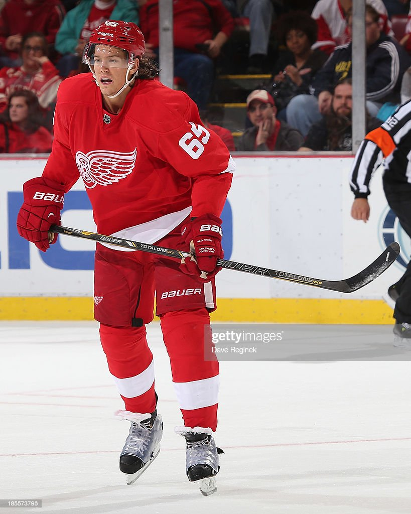 Danny DeKeyser #65 of the Detroit Red Wings follows the play against the San Jose Sharks during an NHL game at Joe Louis Arena on October 21, 2013 in Detroit, Michigan. San Jose Sharks won in a shoot-out 1-0.