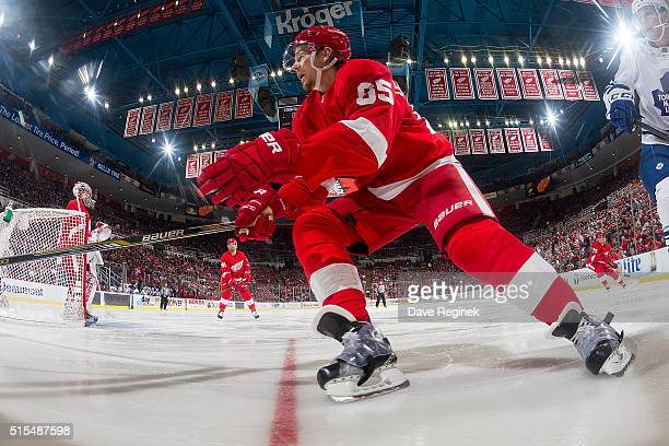 Danny DeKeyser of the Detroit Red Wings follows the play during an NHL game against the Toronto Maple Leafs at Joe Louis Arena on March 13 2016 in...