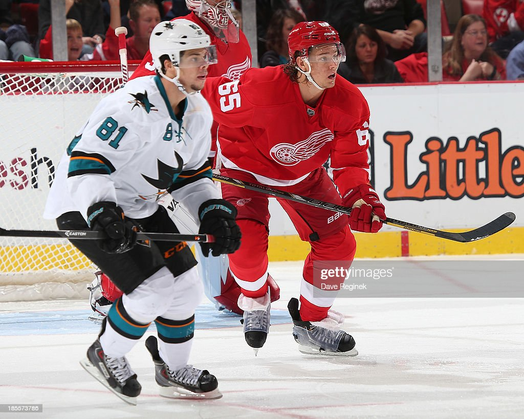 Danny DeKeyser #65 of the Detroit Red Wings follows the play next to Tyler Kennedy #81 of the San Jose Sharks during an NHL game at Joe Louis Arena on October 21, 2013 in Detroit, Michigan. San Jose Sharks won in a shoot-out 1-0.