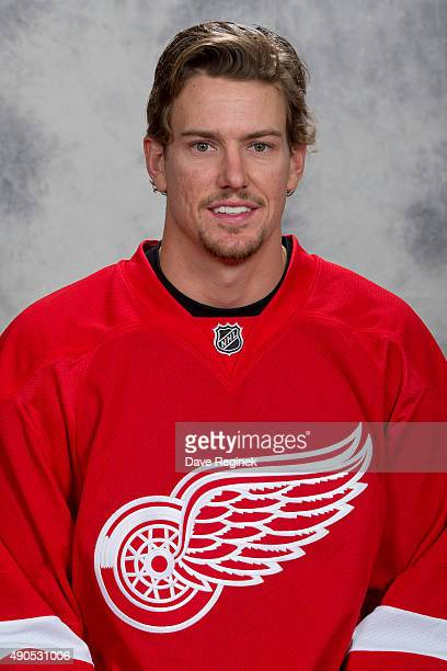Danny DeKeyser of the Detroit Red Wings has his official NHL head shot taken at Centre Ice Arena on September 18 2015 in Traverse City Michigan