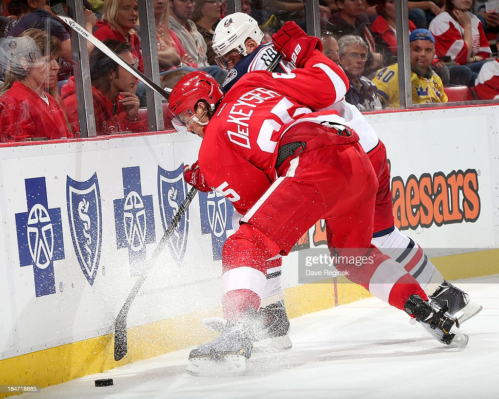 Danny DeKeyser #65 of the Detroit Red Wings knocks <a gi-track='captionPersonalityLinkClicked' href=/galleries/search?phrase=Marian+Gaborik&family=editorial&specificpeople=202477 ng-click='$event.stopPropagation()'>Marian Gaborik</a> #10 of the Columbus Blue Jackets off the puck during a NHL game at Joe Louis Arena on October 15, 2013 in Detroit, Michigan.