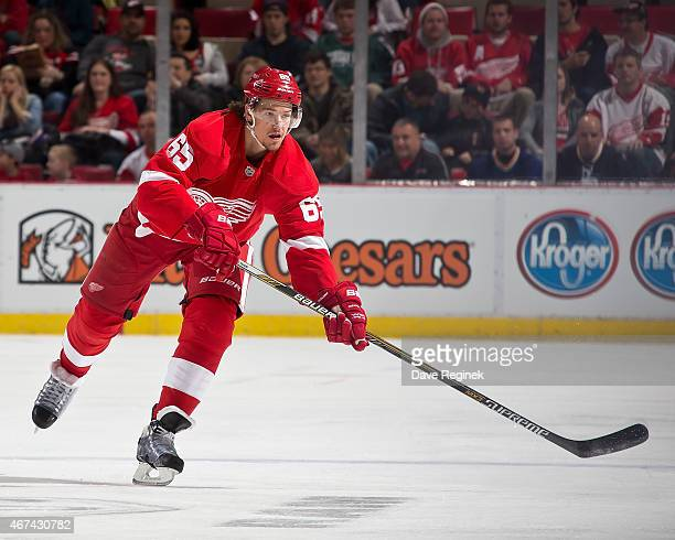 Danny DeKeyser of the Detroit Red Wings passes the puck during a NHL game against the St Louis Blues on March 22 2015 at Joe Louis Arena in Detroit...