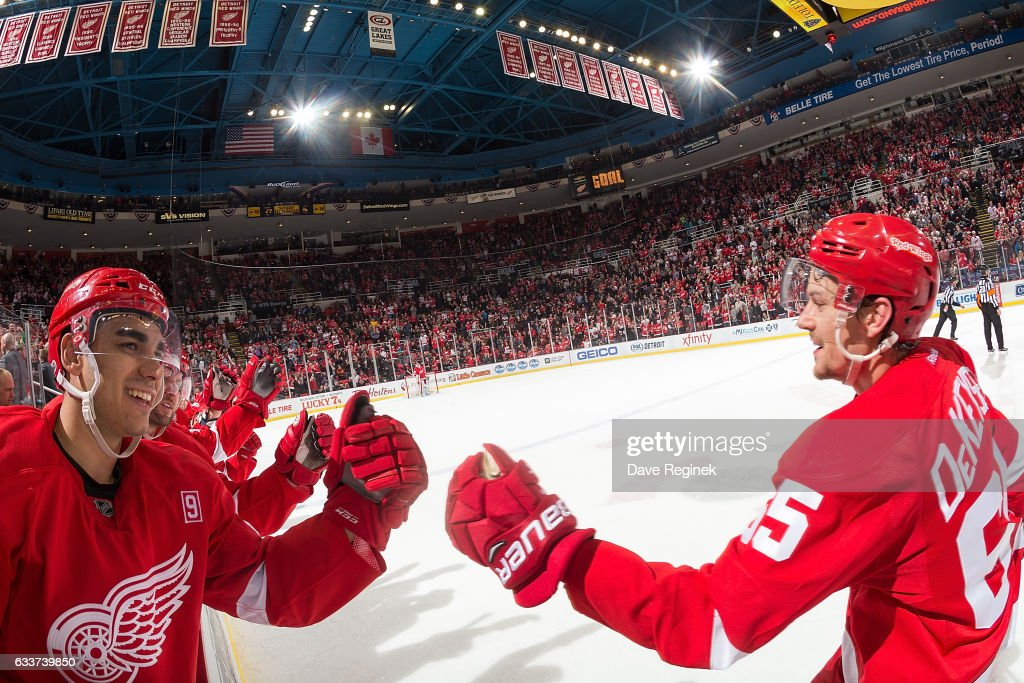 Danny DeKeyser #65 of the Detroit Red Wings pounds gloves with teammate Andreas Athanasiou #72 following his third period goal during an NHL game against the New York Islanders at Joe Louis Arena on February 3, 2017 in Detroit, Michigan. The Wings defeated the Islanders 5-4.