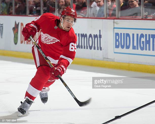 Danny DeKeyser of the Detroit Red Wings shoots the puck against the Montreal Canadiens during an NHL game at Joe Louis Arena on March 24 2016 in...