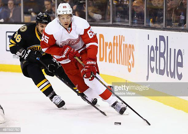 Danny DeKeyser of the Detroit Red Wings skates against the Boston Bruins during the first period at TD Garden on November 14 2015 in Boston...