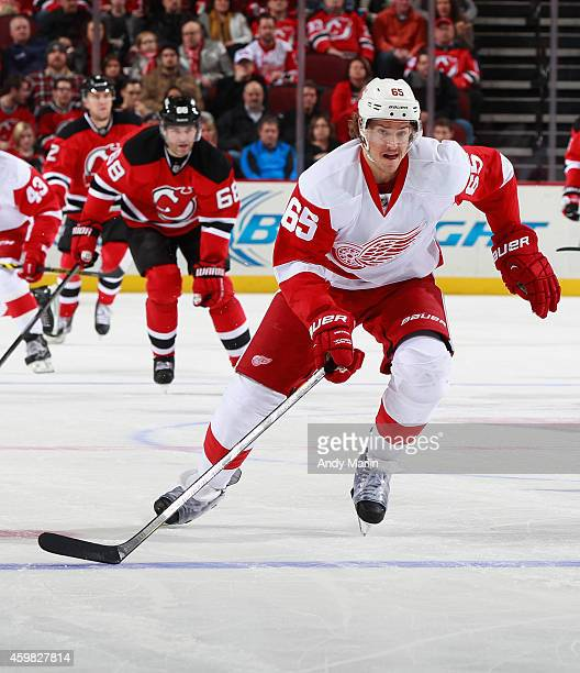 Danny DeKeyser of the Detroit Red Wings skates against the New Jersey Devils during the game at the Prudential Center on November 28 2014 in Newark...