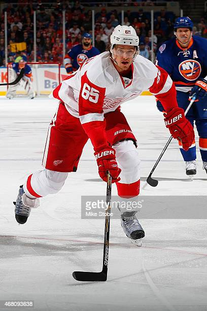 Danny DeKeyser of the Detroit Red Wings skates against the New York Islanders at Nassau Veterans Memorial Coliseum on March 29 2015 in Uniondale New...