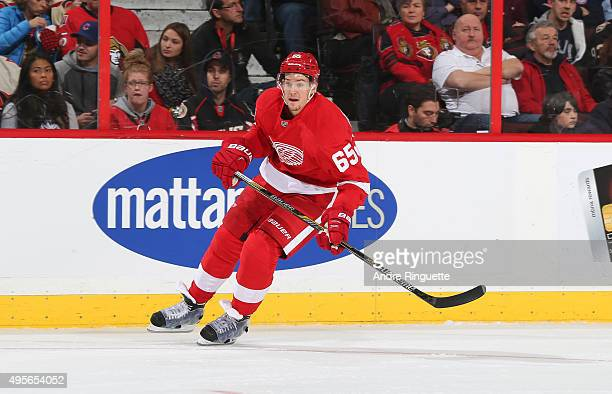 Danny DeKeyser of the Detroit Red Wings skates against the Ottawa Senators at Canadian Tire Centre on October 31 2015 in Ottawa Ontario Canada