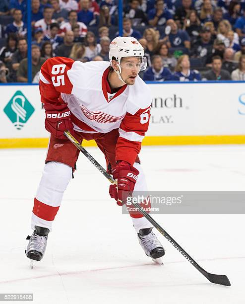 Danny DeKeyser of the Detroit Red Wings skates against the Tampa Bay Lightning during Game One of the Eastern Conference Quarterfinals during the...