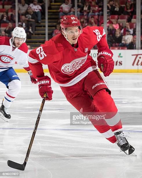 Danny DeKeyser of the Detroit Red Wings skates up ice during an NHL game against the Montreal Canadiens at Joe Louis Arena on November 26 2016 in...