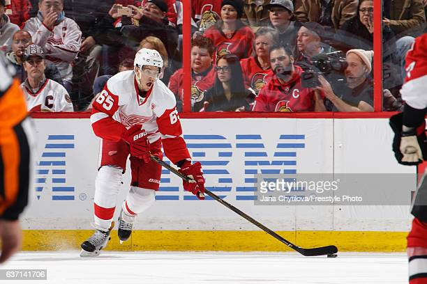 Danny DeKeyser of the Detroit Red Wings skates with the puck against the Ottawa Senators at Canadian Tire Centre on December 29 2016 in Ottawa...
