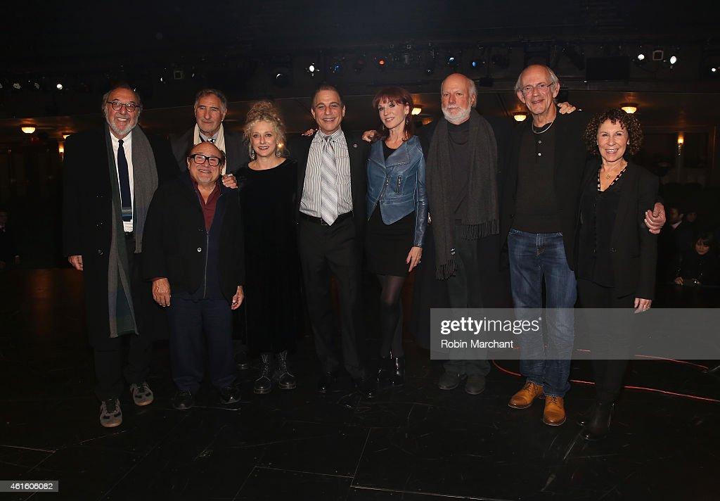 Danny DeVito James L Brooks Judd Hirsch Carol Kane Tony Danza Marilu Henner James Burrows Christopher Lloyd and Rhea Perlman backstage at the 'Taxi'...