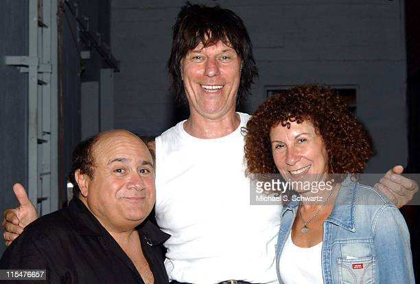 Danny DeVito Jeff Beck and Rhea Perlman during BB King and Jeff Beck Backstage with Danny DeVito and Rhea Perlman at The Greek Theatre on August 2...