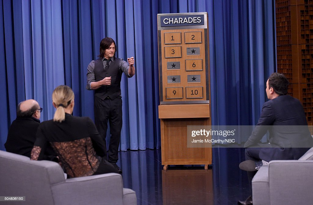 Danny Devito, Khloe Kardashian, Norman Reedus and Jimmy Fallon play charades during a segment on 'The Tonight Show Starring Jimmy Fallon'at Rockefeller Center on January 13, 2016 in New York City.