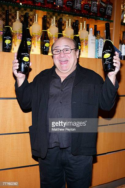 Danny DeVito poses with Limoncello at the New York Marriot Marquis November 6 2007 in New York City