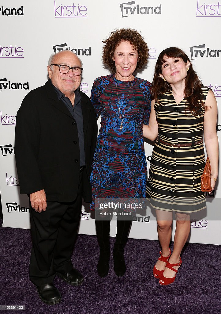 <a gi-track='captionPersonalityLinkClicked' href=/galleries/search?phrase=Danny+DeVito&family=editorial&specificpeople=210718 ng-click='$event.stopPropagation()'>Danny DeVito</a>, <a gi-track='captionPersonalityLinkClicked' href=/galleries/search?phrase=Rhea+Perlman&family=editorial&specificpeople=215378 ng-click='$event.stopPropagation()'>Rhea Perlman</a> and Lucy DeVito attend the 'Kirstie' premiere party at Harlow on December 3, 2013 in New York City.