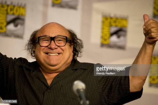 Danny DeVito speaks at the It's Always Sunny in Philadelphia panel at ComicCon on July 25 2010 in San Diego California