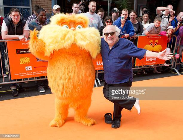 Danny Devito with The Lorax attends the UK film premiere of 'The Lorax' at Cineworld on July 22 2012 in Birmingham England