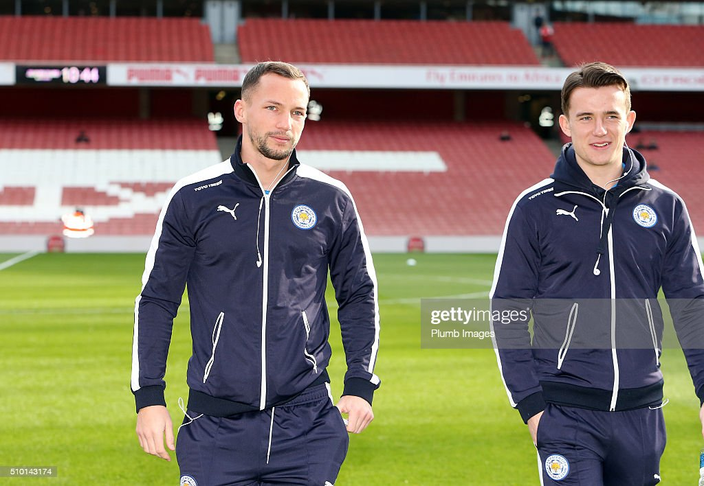 Danny Drinkwater and Ben Chilwell of Leicester City ahead of the Barclays Premier League match between Arsenal and Leicester City at Emirates Stadium on February 14, 2016 in London, United Kingdom.