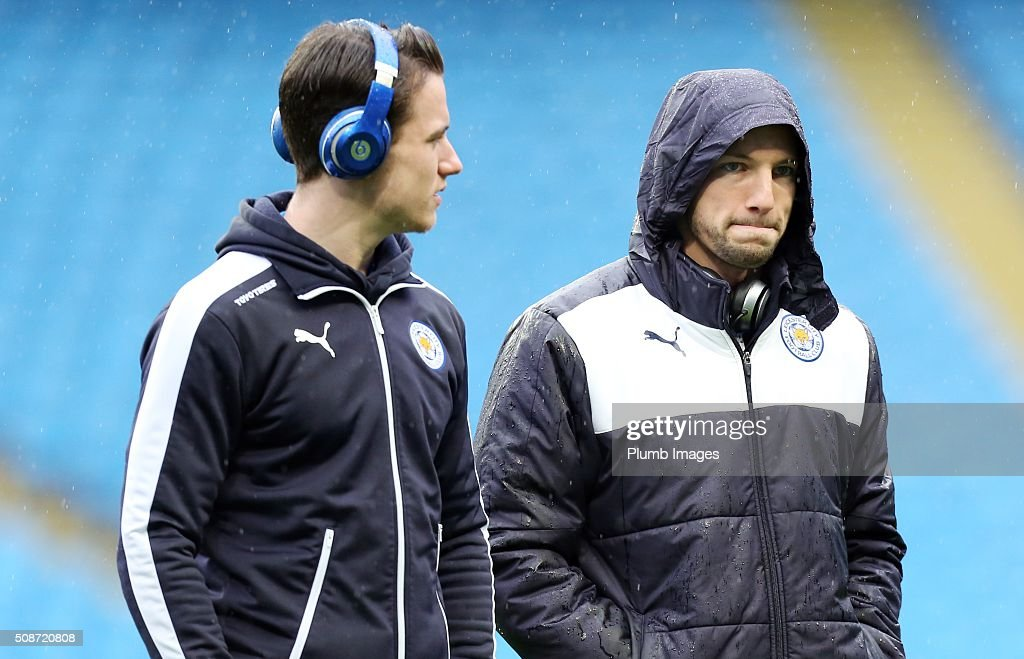 Danny Drinkwater and Ben Chilwell of Leicester City at the Etihad Stadium ahead of the Premier League match between Manchester City and Leicester City at Etihad Stadium on February 6, 2016 in Manchester, United Kingdom.