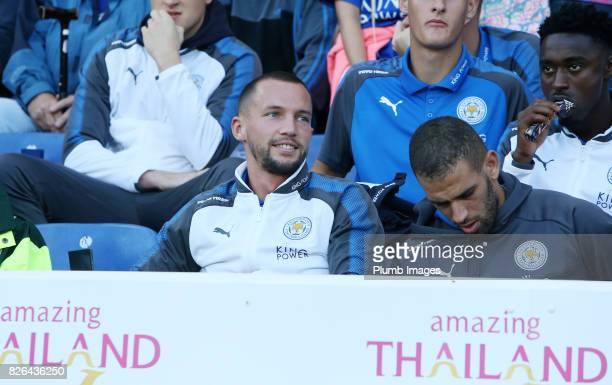 Danny Drinkwater and Islam Slimani of Leicester City at King Power Stadium during the Leicester City v Borussia Monchengladbach Preseason Friendly at...