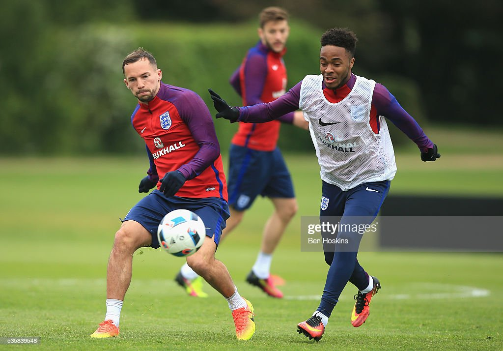 <a gi-track='captionPersonalityLinkClicked' href=/galleries/search?phrase=Danny+Drinkwater&family=editorial&specificpeople=4224396 ng-click='$event.stopPropagation()'>Danny Drinkwater</a> and Rahem Sterling of England in action during an England training session at London Colney on May 30, 2016 near St Albans, England.