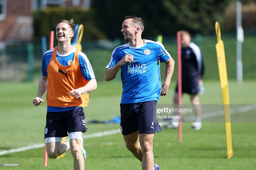 Danny Drinkwater laughs with Andy King during the Leicester City training session at Belvoir Drive Training Complex on May 05, 2016 in Leicester, United Kingdom.